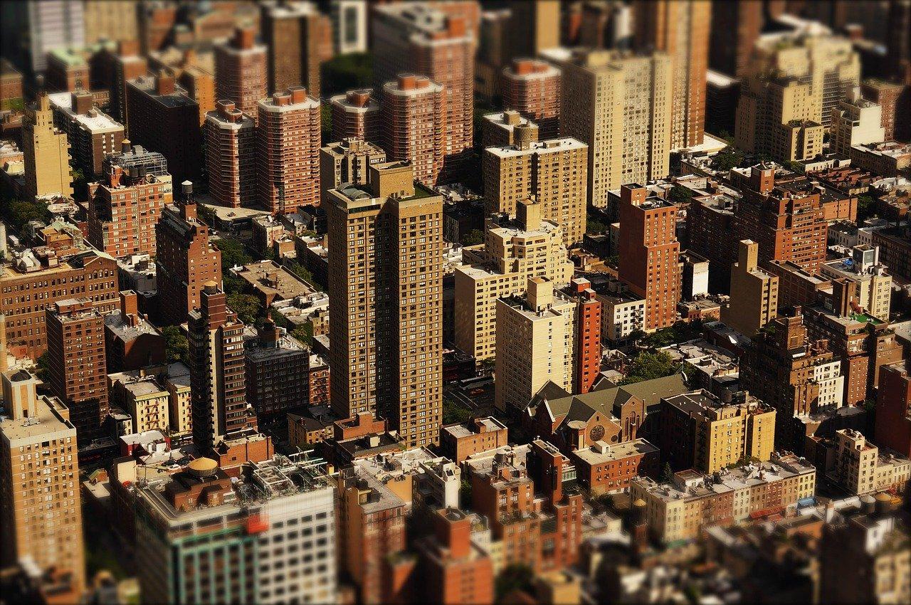 stad wolkenkrabbers huizen bovenaanzicht